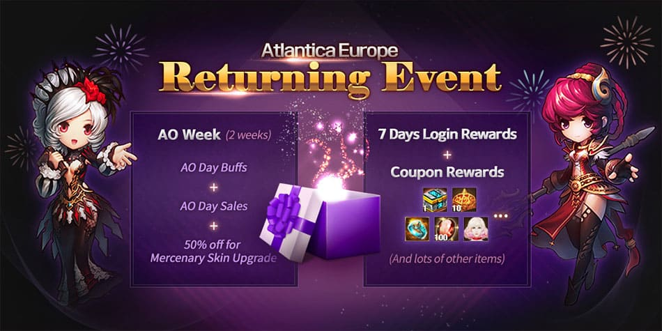 banner1 - AO Week (2 wekks) = AO Day Buffs + AO Day Sales + 50% off for Mercenary Skin Upgrade / 7 Days Login  Rewards + Coupon Rewards (And lots of other items)