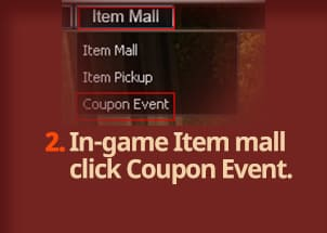 In-game Item mall click Coupon Event.