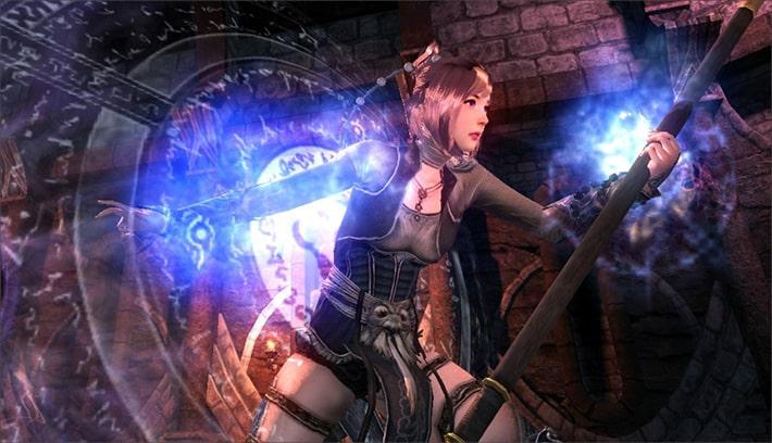 C9 여성캐릭터. 지팡이를 들고, 차원의 문에서 나오고 있는 모습의 이미지